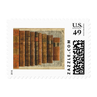 Antique Books Illustration Over Dictionary Page Postage