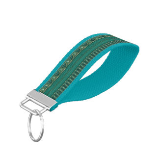 Antique Border - ocean blue + your ideas Wrist Keychain