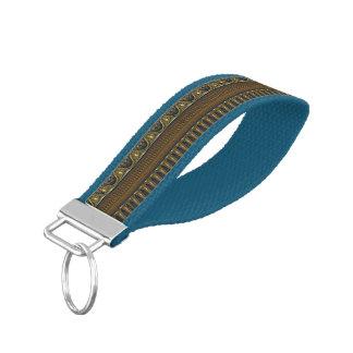 Antique Border - old blue + your ideas Wrist Keychain
