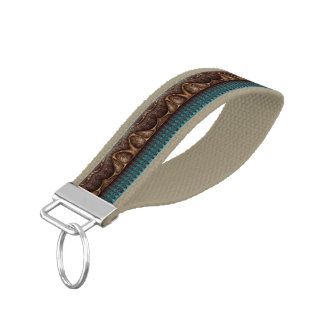 Antique Border - old turquoise + your ideas Wrist Keychain