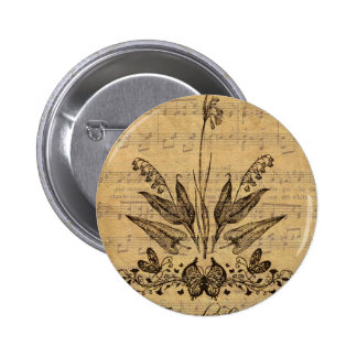 Antique Botanical French Lillies Pinback Buttons