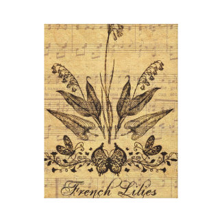 Antique Botanical French Lillies Canvas Print