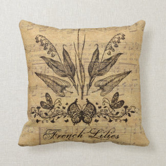 Antique Botanical French Lillies Throw Pillow