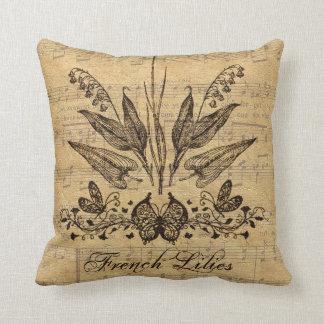 Antique Botanical French Lillies Throw Pillow