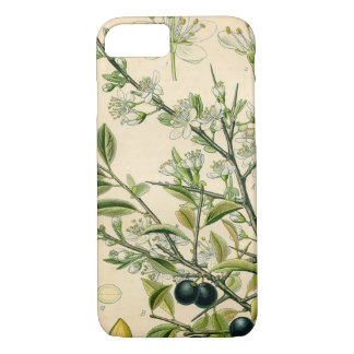 Antique Botanical Print Blackthorn Floral Drawing iPhone 8/7 Case