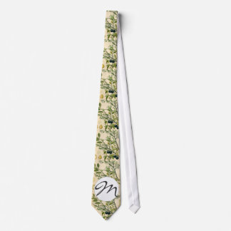 Antique Botanical Print Blackthorn Floral Drawing Tie
