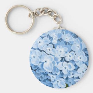Antique Botanical Romantic Blue Hydrangea Keychains