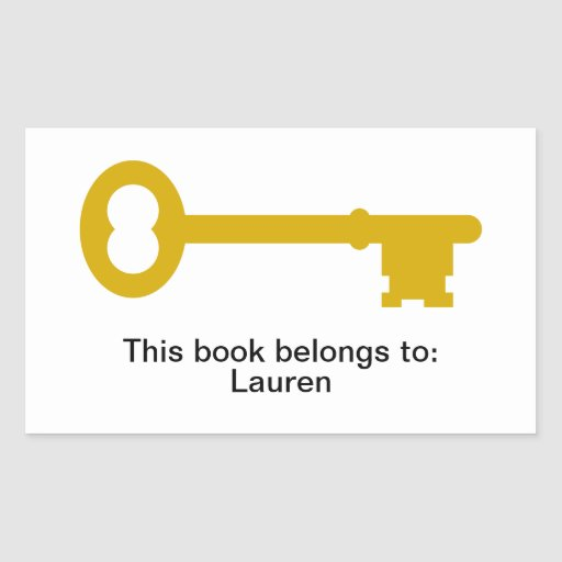 Antique Brass Key Rectangular Sticker