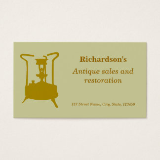 Antique brass pressure stove business card