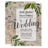 Antique Brick Greenery Chic Wedding Invitation