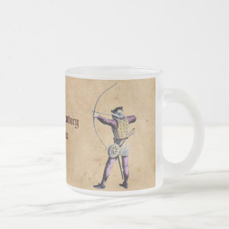 Antique British Costume 15th Century Bowman Frosted Glass Coffee Mug