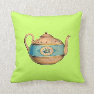 Antique British Tea Lover Teapot  Pillow