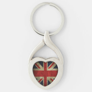 Antique British Union Jack Flag Silver-Colored Heart-Shaped Metal Keychain