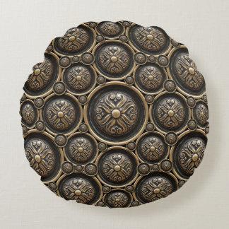 Antique Bronze Pattern Round Pillow