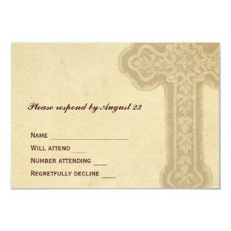 Antique Brown Celtic Cross RSVP Custom Invitations