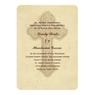 Antique Brown Cross Catholic Wedding Invitation