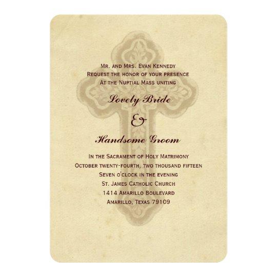 Catholic Wedding Invitations: Antique Brown Cross Catholic Wedding Invitation