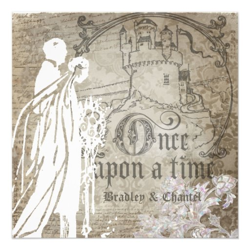 Antique Brown Damask Once Upon a Time Invite