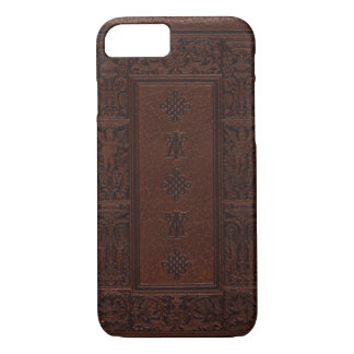 Antique brown leather book cover iPhone 7 case