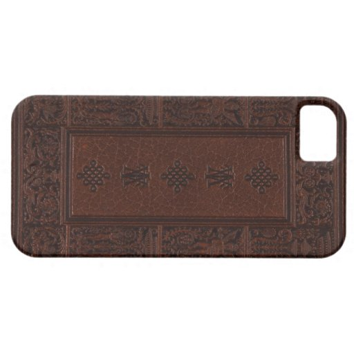 Antique Brown Leather Embossed Book Design iPhone 5 Cases