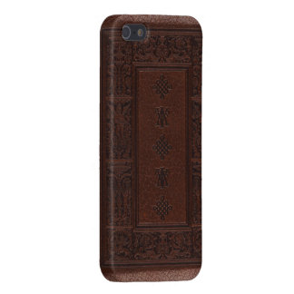Antique Brown Leather Embossed Book Design iPhone SE/5/5s Cover