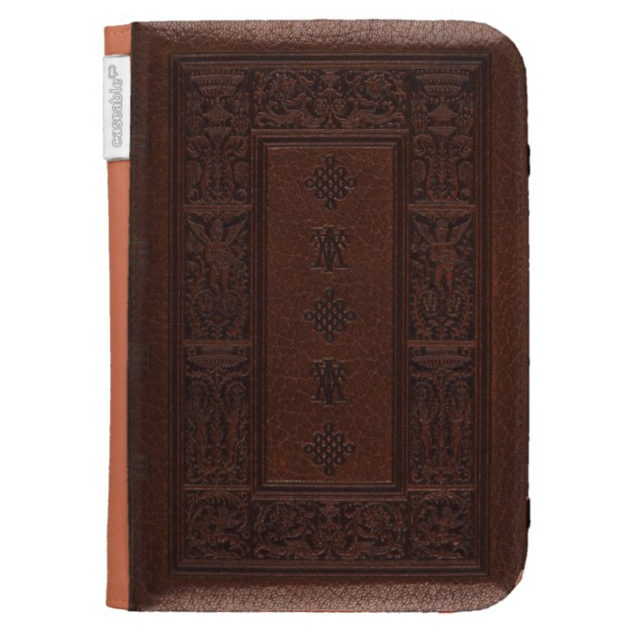 Antique Brown Leather Embossed Book Design Kindle Cover