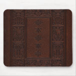 Antique Brown Leather Embossed Book Design Mousepad