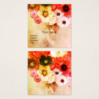 ANTIQUE BROWN RED WHITE ROSES AND ANEMONE FLOWERS SQUARE BUSINESS CARD