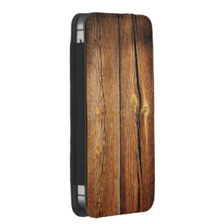 Antique Brown Varnished Wood Look Smartphone Pouch