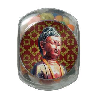 Antique Buddha Glass Candy Jar