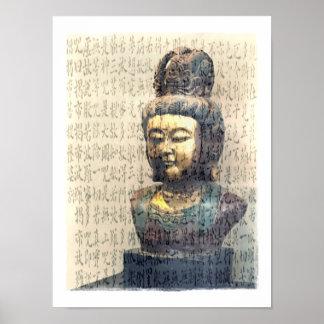 Antique Buddha Sculpture Heart Sutra Art Print