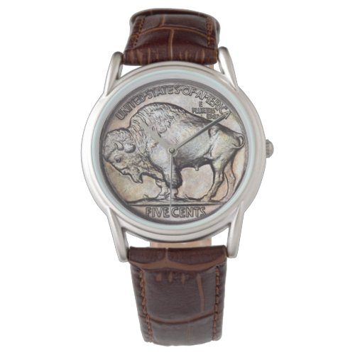 Antique Buffalo Nickel Vintage Rare Coin Collector Watch