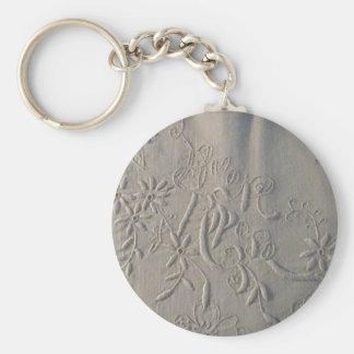 Antique 'Buon Riposo' Italian Wedding Sheet Basic Round Button Keychain