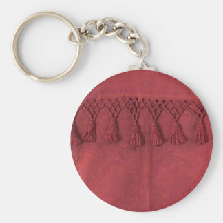 Antique Burgundy Jaquard Damask Keychain