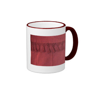 Antique Burgundy Jaquard Damask Ringer Mug