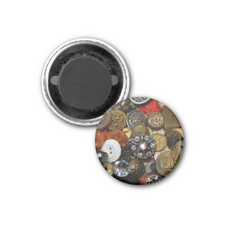 Antique Button Collage Magnet (round)