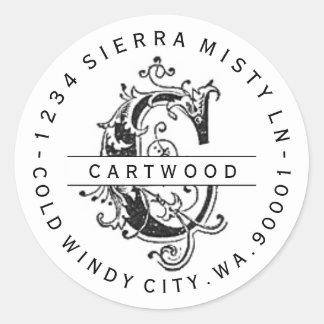 """Antique """"C"""" Monogram Circular Return Address Label Classic Round Sticker"""