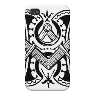 Antique Calligraphy Masonic Symbol Letter H Cover For iPhone 4