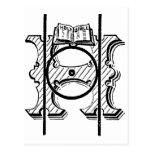 Antique Calligraphy Masonic Symbol Letter H Postcards