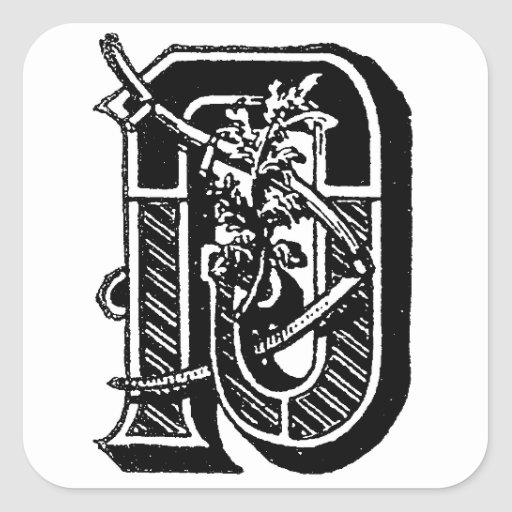 Antique calligraphy masonic symbols letter d sticker zazzle