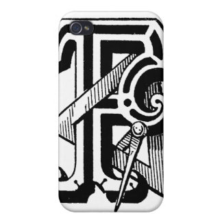 Antique Calligraphy Masonic Symbols Letter F iPhone 4/4S Cover