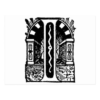 Antique Calligraphy Masonic Symbols Letter I Post Card