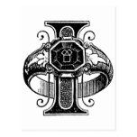 Antique Calligraphy Masonic Symbols Letter I Post Cards