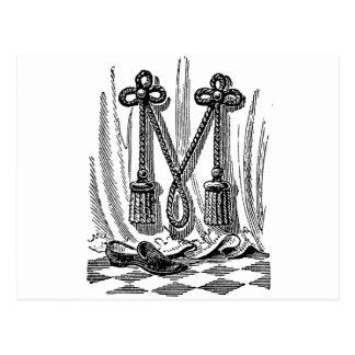 Antique Calligraphy Masonic Symbols Letter M Post Cards