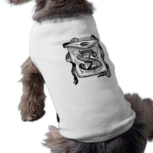 Antique Calligraphy Masonic Symbols Letter S Dog Tee