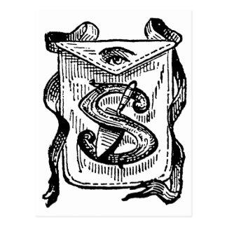 Antique Calligraphy Masonic Symbols Letter S Post Cards