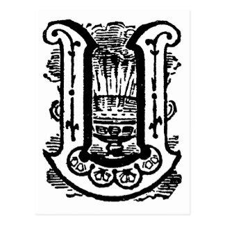Antique Calligraphy Masonic Symbols Letter U Post Cards