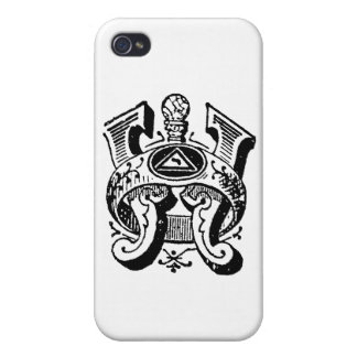 Antique Calligraphy Masonic Symbols Letter W Cover For iPhone 4