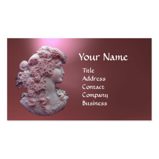 ANTIQUE CAMEO, LADY WITH GRAPES AND GRAPEVINES BUSINESS CARD TEMPLATE