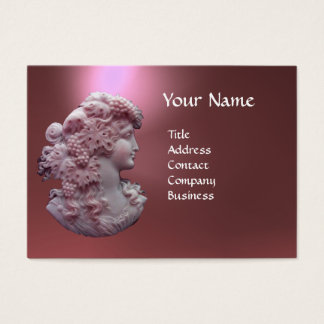 ANTIQUE CAMEO, LADY WITH GRAPES AND GRAPEVINES BUSINESS CARD